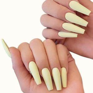 🌝🆕 Pastel Yellow Long Tip PRESS ON NAILS